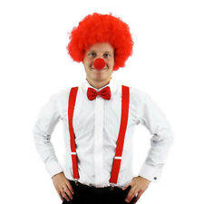 3 PIECE COMIC CLOWN SET CURLY WIG + BOW TIE +  RED NOSE FANCY DRESS ADULTS PARTY