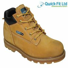 MENS TAN LEATHER NON SAFETY ANKLE WALKING WORK SHOES HIKING BOOTS SIZES 6-12 UK
