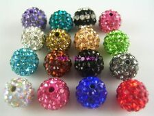 50pcs 100pcs 8mm 10mm 12mm CZ Crystal Clay beads For Pave Disco Spacer Balls