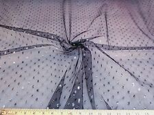 Discount Fabric Black Lace Tulle Metallic Silver Coin Dot 647LC
