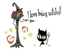 Custom Made T Shirt Halloween Love Being Witchy Whimsical Witch Black Cat Wiccan