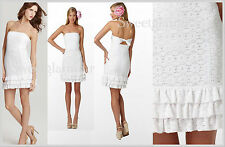 $228 Lilly Pulitzer Resort White Petal Pusher Lace Strapless Franco Dress