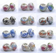 10/100pcs Murano Porcelain Ceramic European Beads Core Fit Charms Bracelets 14MM
