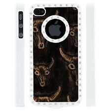 Apple iPhone 4 4S Gem Crystal Rhinestone Black Copper Bull Skull Leather case