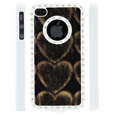 Apple iPhone 4 4S Gem Crystal Rhinestone Black Copper Hearts Leather case