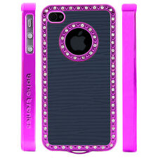 Apple iPhone 4 4S Gem Crystal Rhinestone Dark Blue Lines Wallpaper case