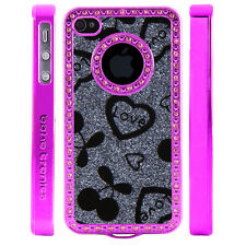 Gem Crystal Rhinestone Grey Love Cherries Plastic Case For Apple iPhone 4 4S 4G