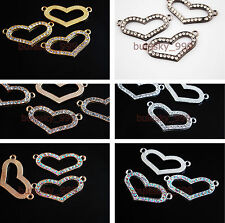 10 Charms Heart Crystal Rhinestone Metal Connectors Links Spacer Finding38x18mm