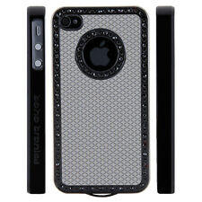 Apple iPhone 4 4S Gem Crystal Rhinestone Grey Diamond Rubber case