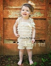 Baby Girls Cream Ivory Lace Petti Romper Straps NB-3T