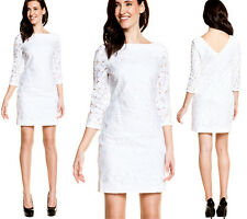 $375 Diane Von Furstenberg DVF White Sarita Flower Lace Cocktail Dress