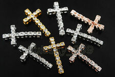 20Charms Crystal Rhinestone Curved Small Cross Bracelet Connectors Findings 30mm