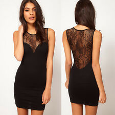 New Women See-through Sleeveless Splicing Lace Evening Party Clubbing Mini Dress