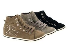 WOMENS HI TOP TRAINERS STUDDED FAUX SUEDE ANKLE BOOTS PLIMSOLLS LADIES SHOES 3-8
