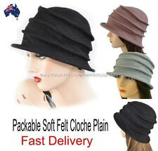 Ladies Bucket Hat Cap Packable Foldable Felt Great Gatsby 20s Cloche Plain Wool