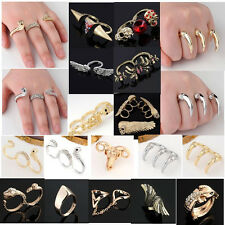 Punk Golden Silvery Bronze Rhinestone Metal Double Three Finger Skull Ring Gift