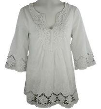 Select Clothing - Peasant Style Cotton Top, 3/4 Sleeve, Split Neck Collar