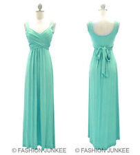 I1 MINT LONG Crossover Faux Wrap Dress Bridesmaid Maxi Full Length S M L XL