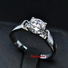 18k White Gold Plated Round Cut Solitaire Swarovski Crystal Engagement Ring R108