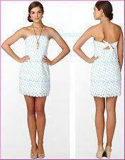 $228 Lilly Pulitzer Franco Shorely Blue April Showers Eyelet Strapless Dress