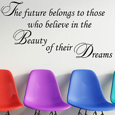 Wall Sticker Quote - The Future Belongs Dreams Motivational Office Decal Art