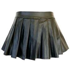 PB13 - 2XL 4XL 6XL 8XL Plus Size Faux Leather Pleated Sexy Mini Skirt Black