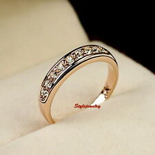 AllSize Rose Gold Plated Clear Swarovski Crystal Wedding Band Eternity Ring R126