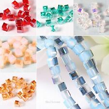 95/475pcs Faceted Glass Crystal Spacer Square Loose Finding Beads Jewelry DIY