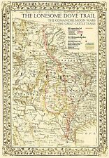 The Lonesome Dove~Comanche Moon~Great Trails Map - In 3 Sizes