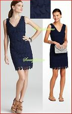 NWT $368 Lilly Pulitzer 37328 Reeve True Navy Truly Sailboat Boaty Lace Dress