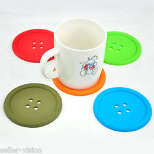 Big Giant Silicone Button Coffee Tea Glass Cup Mug Coaster Beverage Holder