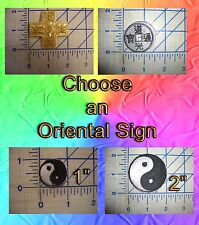 Choose Oriental Cross Ying Yang Chinese Coin Sign Iron On Patch Sew Embroidery