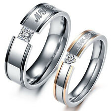 """MY LOVE"" Crystal Titanium Steel Promise Ring Lovers Wedding Anniversary JZ0201"