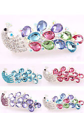 Women Lady's Girls Retro Lovely Vintage Crystal Peacock Hair Clips Pin Hairpin