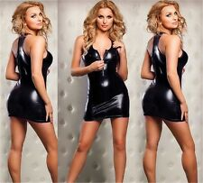 3 Colors SEXY Lucy Zipper Front Metallic Mini gogo Dance Dress Clubwear @FL4583A