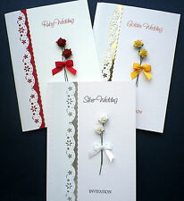 Pack of 10 Anniversary Invitation Cards 25th / 30th / 40th / 45th / 50th / 60th