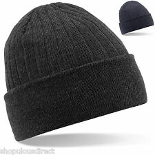Thinsulate Ribbed Beanie Hat Wooly Warm Grey / Blue