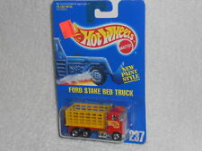 Hot Wheels 92 - 95 Blue Card #237 Ford Stake Bed Truck - Red w/ Yellow Bed