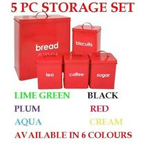 Lot 5 Pot Cuisine Couleur Rangement Inscription Bread Tea Coffee Sugar Biscuit