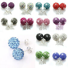 Wholesale Disco Ball Rhinestone/Crystal Beads Iron Ear Studs Earrings 11 Colors