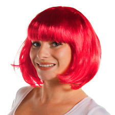 LADIES HOT PINK BOB WIG WITH FRINGE 1920'S FLAPPER FANCY DRESS FASHION BABE HAIR