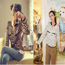 Women Pockets Leopard Pattern Casual Thin Stand Collar Long Sleeve Shirt Blouses