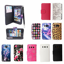 BOOK TYPE CARD HOLDER LEATHER FLIP CASE COVER FOR HUAWEI ASCEND Y300 + STYLUS
