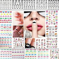 Moustache Water Transfer Nail Art Manicure Decals Stickers Tips DIY *Free P&P*