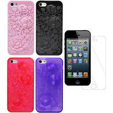 For Apple iPhone 5 3D Rose Flower Durable TPU Protector Case Cover + Film