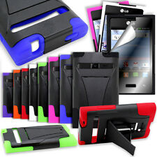 Hybrid Rubber Silicone Case Cover For LG Optimus Logic L35G L3 E400 Dynamic L38C