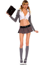 Sexy Adult Halloween Celebrity School Girl Costume Outfit w Knee-High Socks
