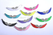 10pcs Crystal Rhinestone Enamel Angel Curved Wing Charms Connectors Finding 54MM