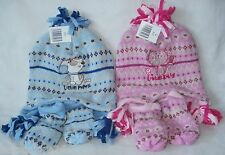 BABY HAT AND MITTENS SET JESTER STYLE HAT BLUE FOR BOY OR PINK FOR GIRL QUALITY