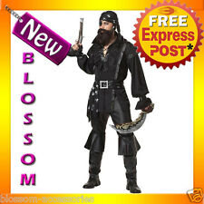 C797 Plundering Pirate Man Costume Halloween Caribbean Buccaneer Party Outfit